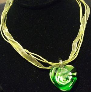 Green Glass Heart Choker Necklace